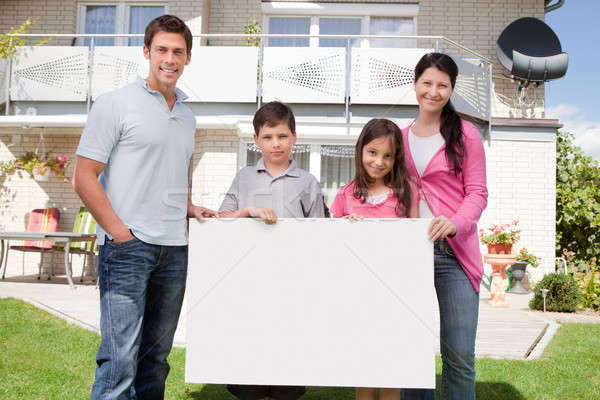 Jonge familie zwart wit boord portret Stockfoto © AndreyPopov