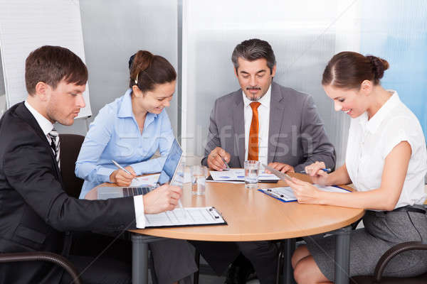 Busy Coworkers Working Together Stock photo © AndreyPopov