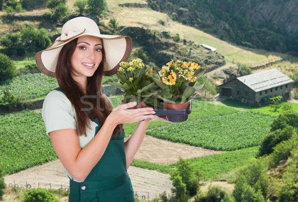 Female Gardener With Flower Stock photo © AndreyPopov