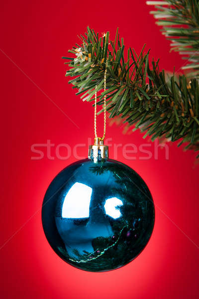 Blue Bauble On Christmas Tree Stock photo © AndreyPopov