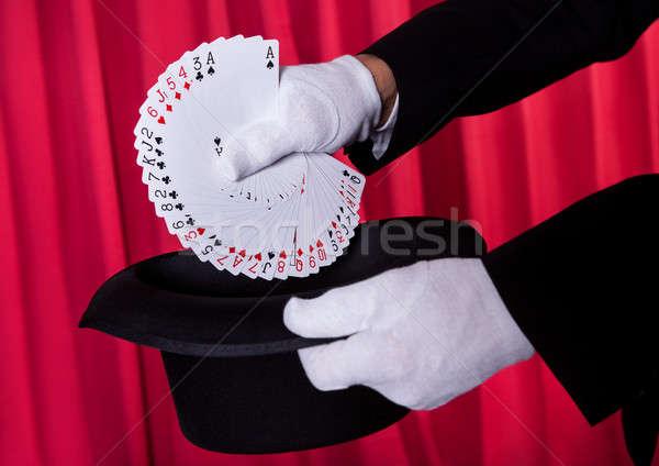 マジシャン 手 デッキ カード 肖像 ストックフォト © AndreyPopov