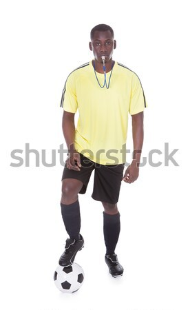 Soccer Referee With Ball And Whistle Stock photo © AndreyPopov