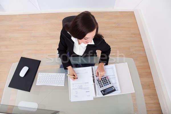 Zdjęcia stock: Szczęśliwy · kobieta · interesu · podatku · widoku · biurko