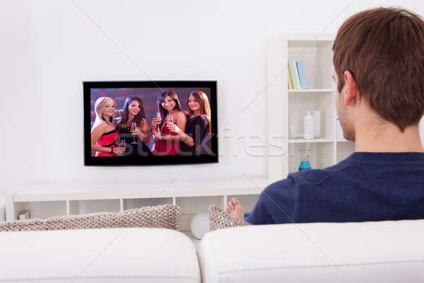Stock photo: Man Watching Television