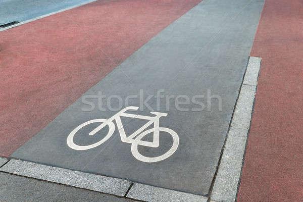 Stock fotó: Bicikli · sáv · szimbólum · út · fotó · bicikli