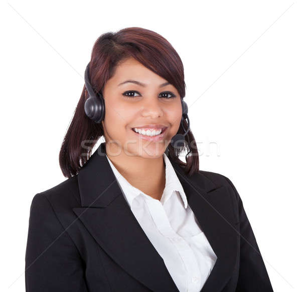 Retrato feliz atendimento ao cliente representante feminino isolado Foto stock © AndreyPopov