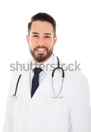 Doctor With Stethoscope Around Neck Over White Background Stock Photo C Andriy Popov Andreypopov 5554808 Stockfresh