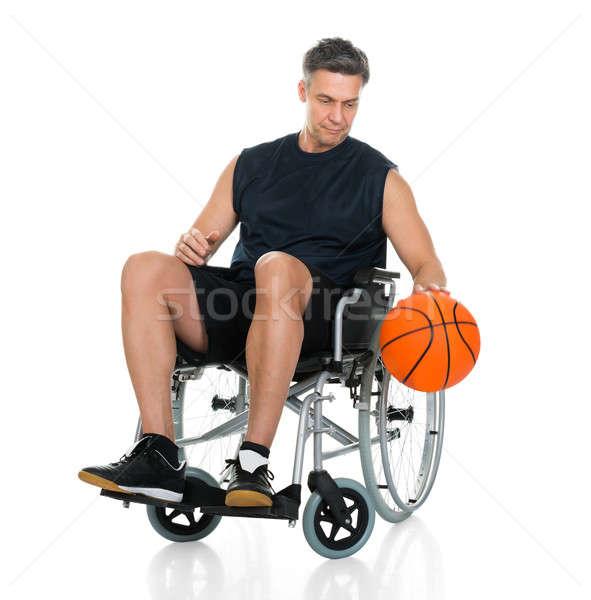 Niepełnosprawnych gracz wózek koszykówki biały Zdjęcia stock © AndreyPopov