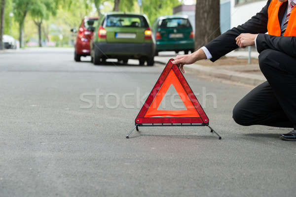Red Warning Triangle With A Broken Down Cars Stock photo © AndreyPopov