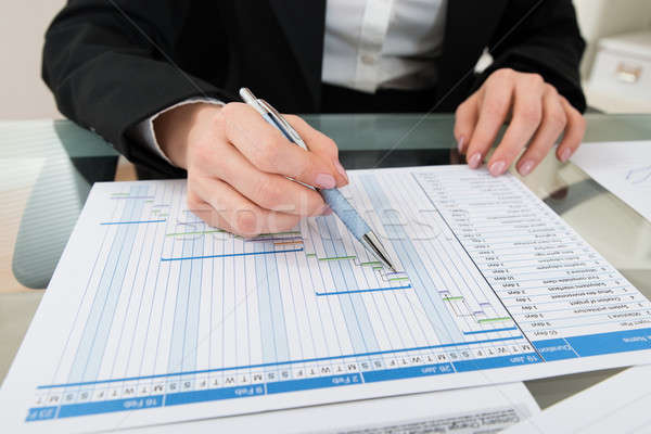 Stock photo: Businesswoman Working On Gantt Chart