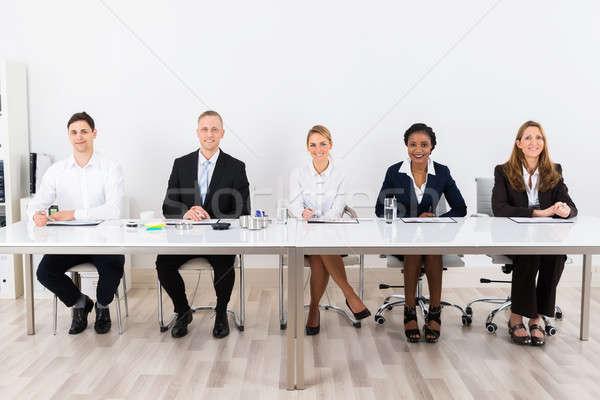 座って 会議 幸せ グラフ デスク ストックフォト © AndreyPopov