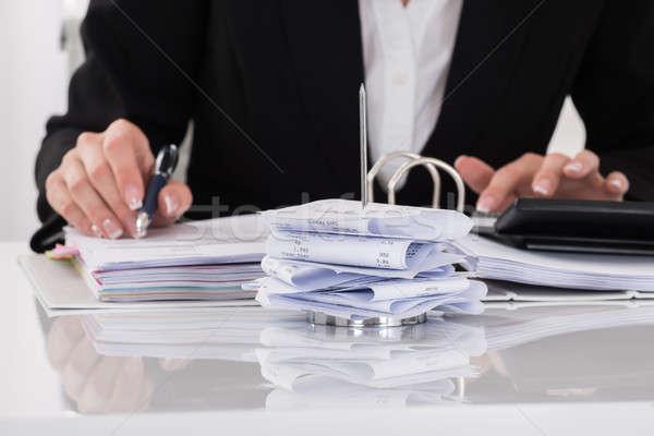 会計士 税 デスク クローズアップ 女性 ペン ストックフォト © AndreyPopov