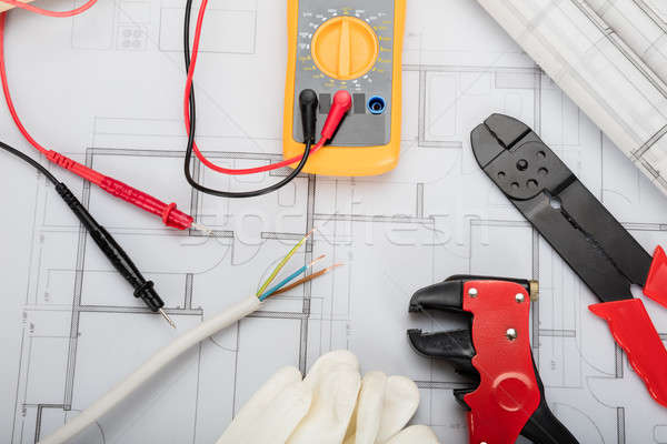 Elétrico componentes planos ver papel Foto stock © AndreyPopov