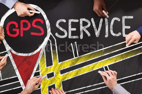 GPS usługi grupy ludzi rysunek działalności strony Zdjęcia stock © AndreyPopov