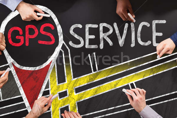 GPS Ouvrir la groupe de gens dessin affaires main Photo stock © AndreyPopov