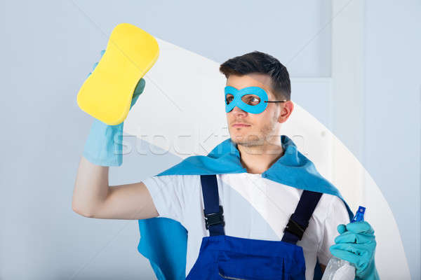 Superhero Janitor Wiping Glass Stock photo © AndreyPopov