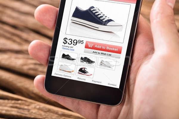 Foto stock: Pessoas · mão · telefone · móvel · compras · site