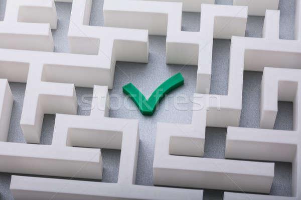 Green Check Mark Icon In The Centre Of Maze Stock photo © AndreyPopov