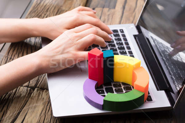 Elevated View Of Multi Colored 3d Pie Chart Stock photo © AndreyPopov