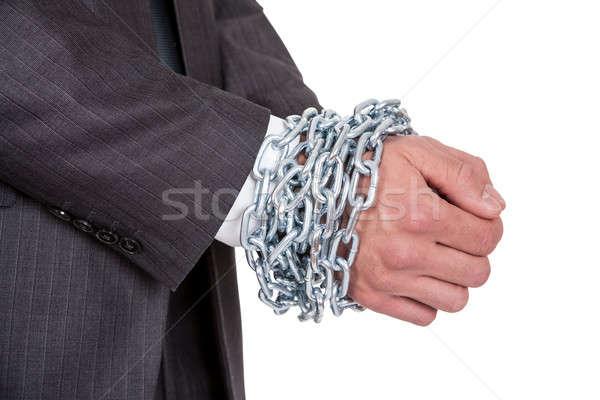 Businessman hands bound in chains Stock photo © AndreyPopov