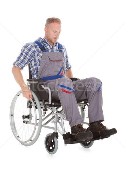 Manual trabajador silla de ruedas blanco hombre Foto stock © AndreyPopov