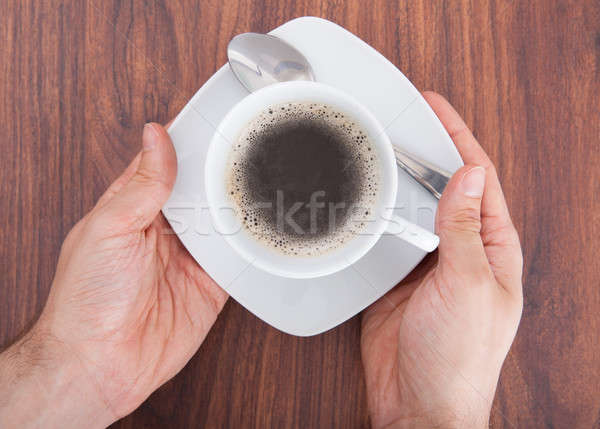 High Angle View Of Person's Hand On Table Stock photo © AndreyPopov