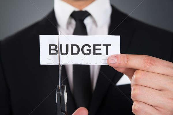 Imprenditore parola bilancio carta forbici Foto d'archivio © AndreyPopov