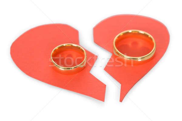 Gyűrű összetört szív arany piros fehér pár Stock fotó © AndreyPopov