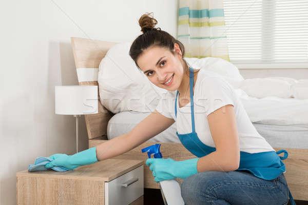женщины экономка очистки счастливым комнату Сток-фото © AndreyPopov