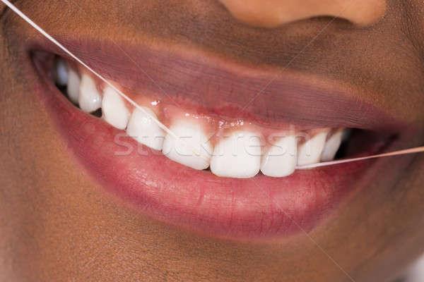 Stock foto: African · Frau · Zähne · jungen · Haus