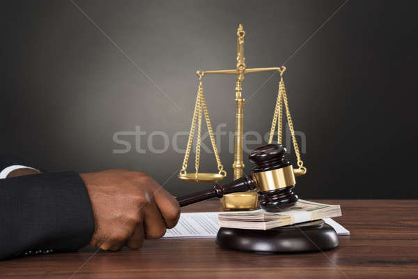 Bíró kalapács bankjegy közelkép asztal papír Stock fotó © AndreyPopov