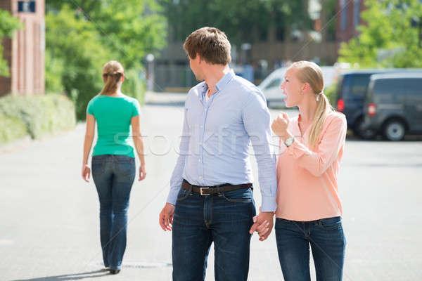 女性 彼氏 見える 若い女性 ストックフォト © AndreyPopov
