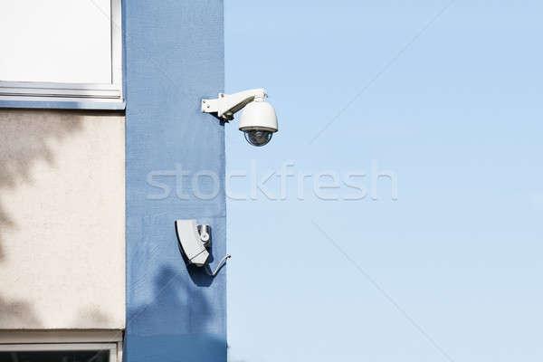 Aparatu bezpieczeństwa ściany budynku technologii kabel Zdjęcia stock © AndreyPopov