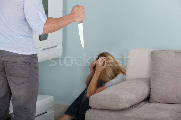 Homem faca mulher forte Foto stock © AndreyPopov