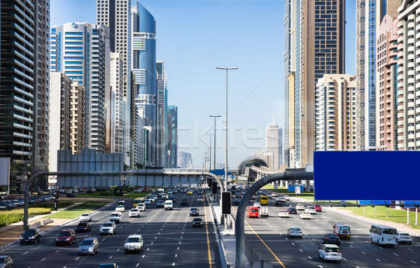 Traffic Jam At Sheikh Zayed Road In Dubai Stock photo © AndreyPopov