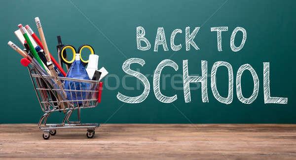 Różny przybory szkolne koszyka koszyk tablicy powrót do szkoły Zdjęcia stock © AndreyPopov