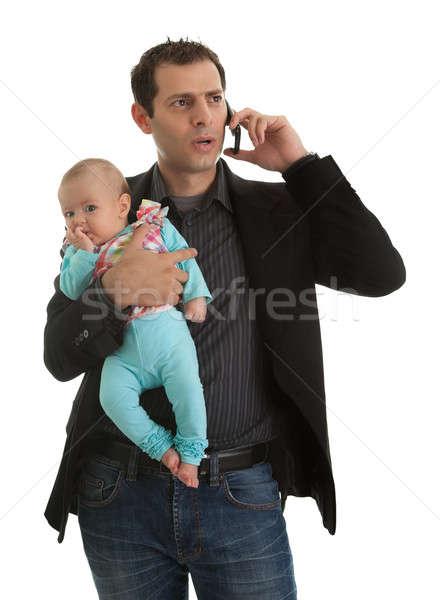 Férfi zsonglőrködés üzletember apa portré kislány Stock fotó © AndreyPopov