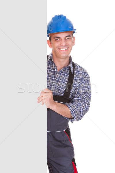 Portré férfi munkás plakát boldog fehér Stock fotó © AndreyPopov