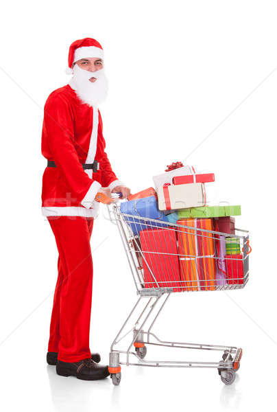 Stock fotó: Mikulás · tart · bevásárlókocsi · fehér · buli · divat