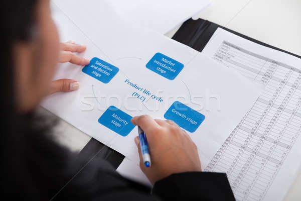 Businesswoman Studying Diagram Stock photo © AndreyPopov