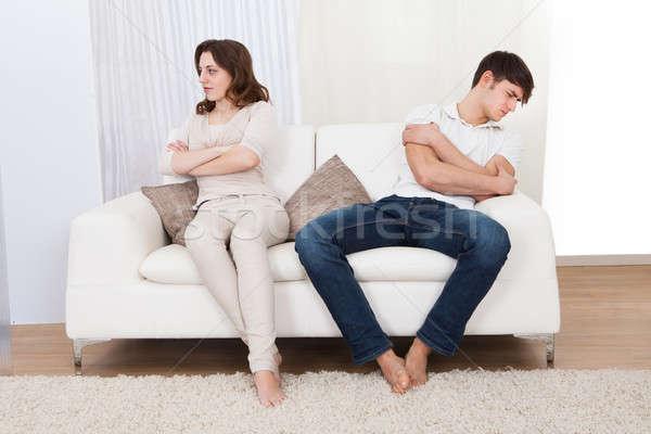 Portré pár ül kanapé veszekedés ki Stock fotó © AndreyPopov