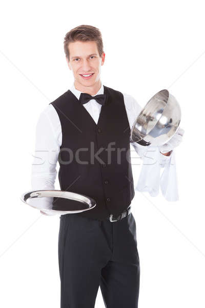 Waiter Opening Lid Cover Stock photo © AndreyPopov