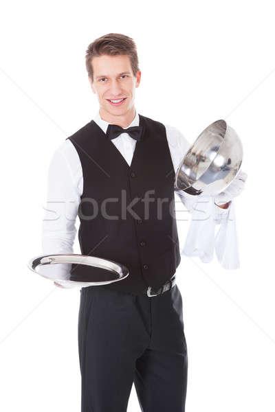 De ober opening dekken gelukkig mannelijke witte Stockfoto © AndreyPopov