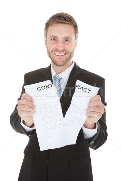 Happy Businessman Tearing Contract Paper Stock photo © AndreyPopov