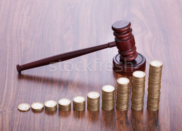 Wooden Gavel With Coins Stock photo © AndreyPopov