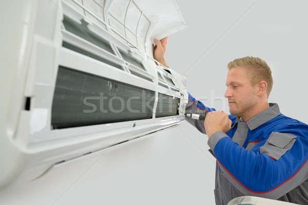 Photo stock: Technicien · climatiseur · portrait · jeunes · Homme