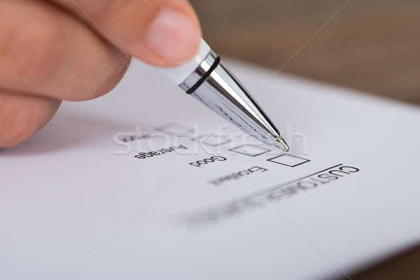 Személy kezek toll vásárló felmérés űrlap Stock fotó © AndreyPopov