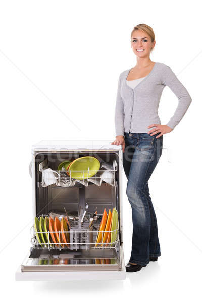 Confident Woman With Dishwasher Stock photo © AndreyPopov