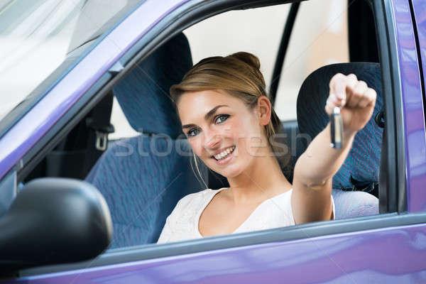 женщину ключевые Новый автомобиль портрет счастливым Сток-фото © AndreyPopov