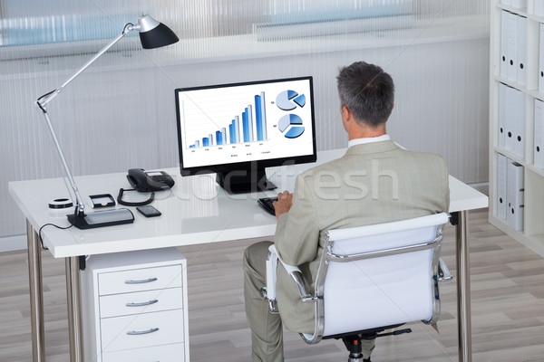 Businessman Analyzing Financial Graphs On Computer At Desk Stock photo © AndreyPopov